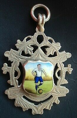 LARGE Sterling Silver & Enamel Football Medal / Fob  - 1914 Chester not engraved