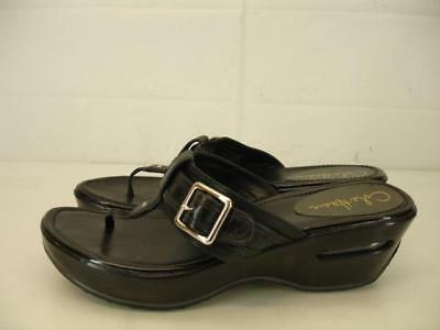 cb29880a2d6 Womens 8 B M Cole Haan Air Maddy Black Leather Thong Wedge Heel Sandals  Platform