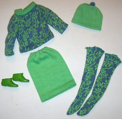 Vintage Francie Doll #1250 Gad-About Green & Blue Mod Knit Outfit 1966