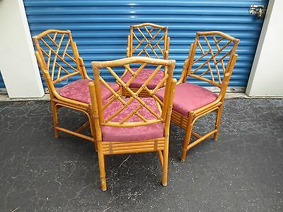 Fretwork Bamboo Dining Set 4 Chairs Chinese Chippendale Palm Beach Regency Four