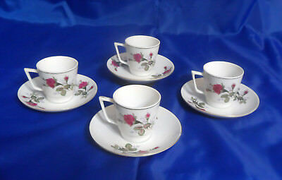 Vtg 4 DEMITASSE CUP & SAUCER SETS - Roses w/ Stems, Gold Trim - Made in China