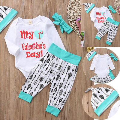 US Newborn Baby Boy Girl Unisex Romper Bodysuit +Pants Outfit Set Clothes