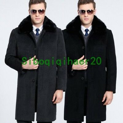 Luxury Mens Long Business Wool Jacket Fox Fur Collar Winter Thicken Outwear Sz