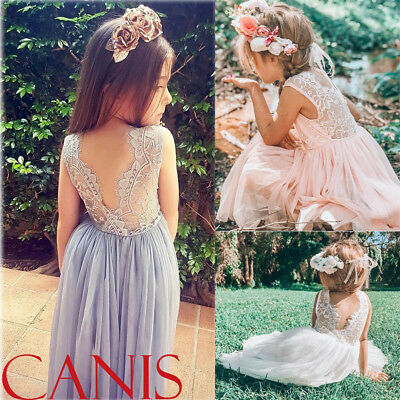 AU Infant Baby Girls Flower Lace Dress Party Princess Kids Formal Dress Clothes