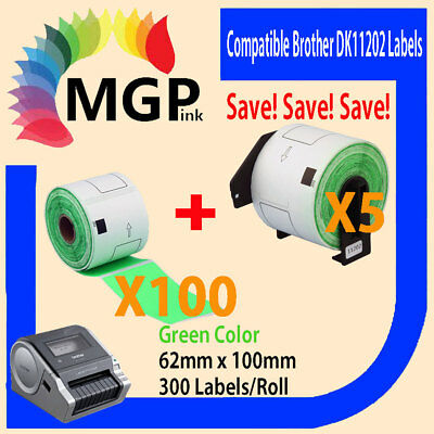100+5 Compatible for Brother DK-11202 Green Label 62mmx100mm QL500/550 QL1050