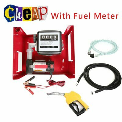 550W Diesel Adblue Transfer Fuel Pump Kit 12V With Car Fuel Meter Wall Mounted 3