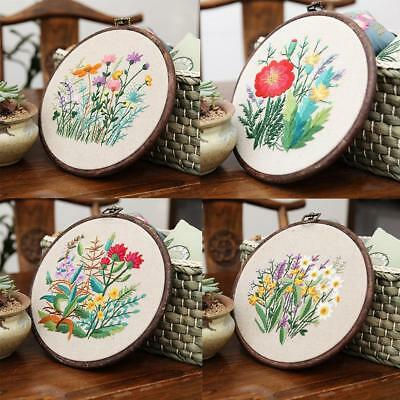 Embroidery Kit Cross Stitch & Bamboo Hoop For Starter Sewing