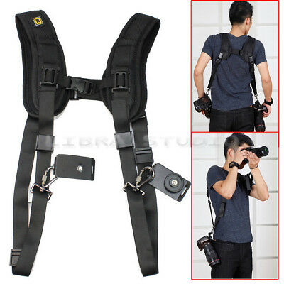 Black Dual Shoulder Quick Release Belt Sling Strap For 2 DSLR Camera Canon WNN