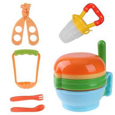 12pcs/Set Baby Food Grinding Bowl Supplement Scissors Spoon Fruit Processor P4PM