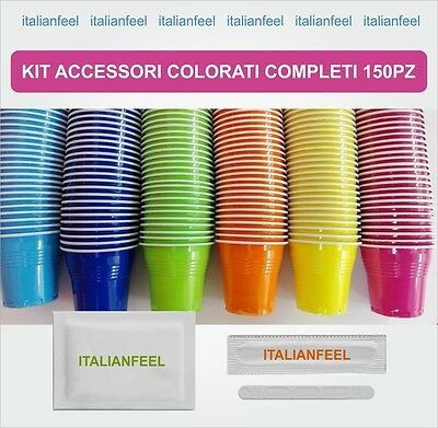 150 Pz Kit Accessori Caffe Colorati Originale Borbone 1 X 150
