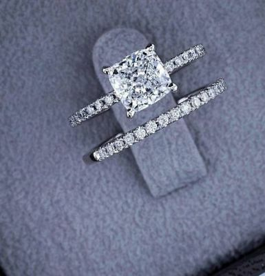 Certified 3.00 Ct Cushion Diamond Engagement Wedding Ring Set 14k White Gold
