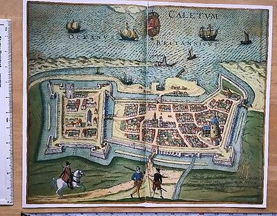Old Antique Map of Calais, France: 1598 Braun & Hogenberg REPRINT 1500's Tudor