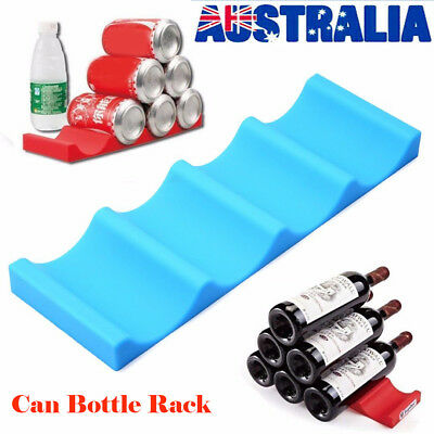 Fridge Can Beer Wine Bottle Rack Holder Silicone Stacking Mat Kitchen Tidy Tool