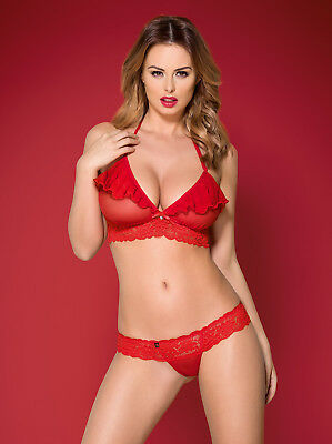 Completo Intimo In Tulle E Pizzo Rosso Con Rouches 2 Pz 863-Set-3 Obsessive