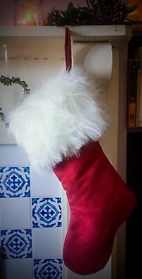 Handmade Christmas Stocking with Luxury White Faux Fur and Red Satin Lining