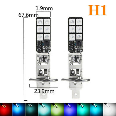 2pcs H1 5050 RGB LED 12 SMD Car Headlight Fog Light Bulb + Remote Control 12V US