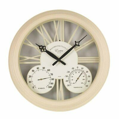 Outdoor Wanduhr & Thermometer Exeter (38cm) - Weiss