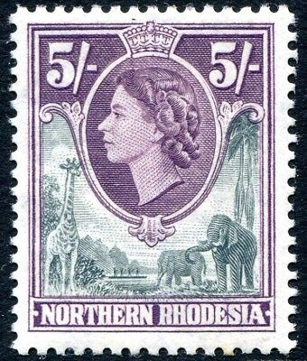 NORTHERN RHODESIA-1953 5/- Grey & Dull Purple Sg 72 LIGHTLY MOUNTED MINT V28581