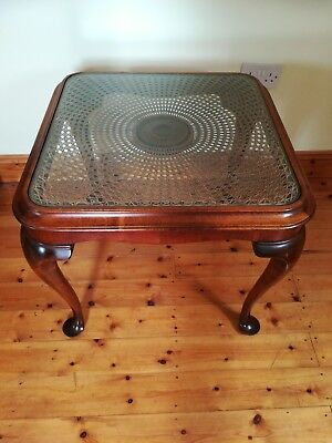 ANTIQUE MAHOGANY GLASS TOP With REED INNER SIDE / COFFEE TABLE CABRIOLE LEGS