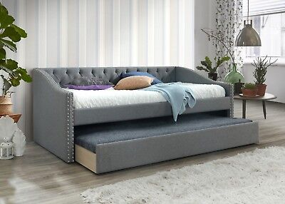 Vegas Chesterfield Grey Linen Fabric Guest Day Bed With Underbed Trundle