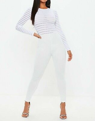 42b52bb804fc MISSGUIDED White Burn Out Mesh Jumpsuit UK 8 US 4 EU 36 (camg163)