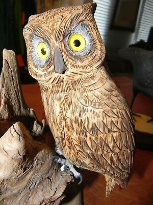 Great Horned Owl BEAUTIFUL Carved Painted Wood Folk Art Bird MAINE Artist LOOK!