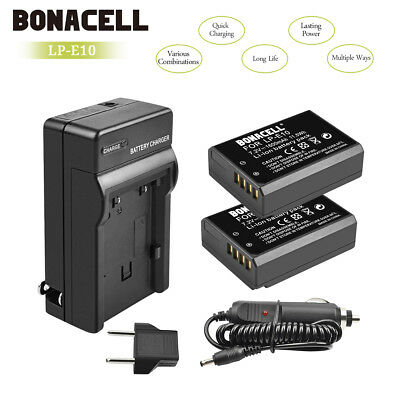 2 Battery+Charger LP-E10 LPE10 For Canon Rebel T3 T5 Kiss X50 EOS 1100D 1200D UB