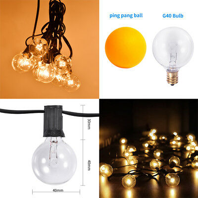 G40 Bulb Filament Outdoor Patio Globe String Lights (100', 50' and 25' Lengths)