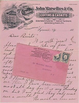 RARE Letterhead & Cover 1884 John Marsellus Undertaker Coffin Syracuse NY Letter