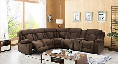 MOTION RECLINING UNIQUE Dark Brown Fabric Sectional Sofa w Console ...