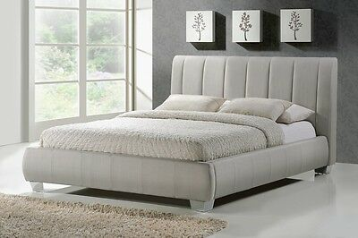 Braunston Fabric Modern Lined Bed Frame Grey Or Sand 4FT6 Double 5FT King Size