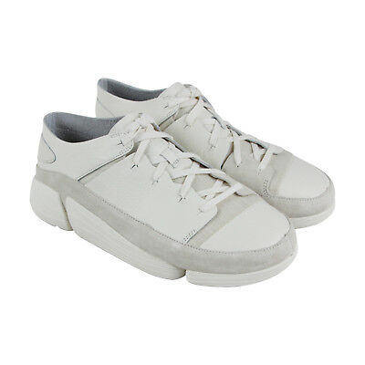Clarks Trigenic Evo Mens White Leather Low Top Lace Up Sneakers Shoes