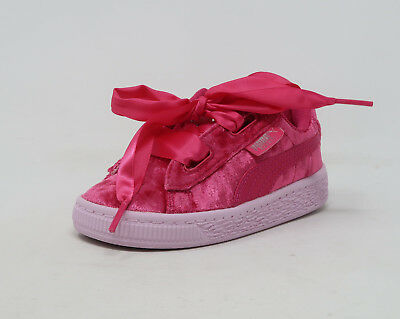 be0f515e78d PUMA Basket Heart Velour Beet Pink Lace Up Toddler Infant Sneakers Babies  Shoes