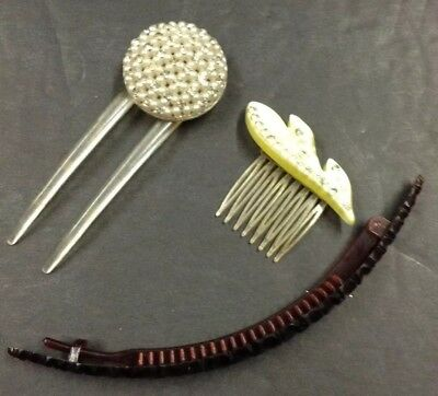 Vintage Hair Comb Lot of 3 Plastic Celluloid Rhinestone Extra Large Beret