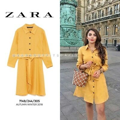 7d657d5f31 Rare Nwt Zara Aw18 Mustard Shirt Dress Linen Tunic With Belt Xs S L Xl Xxl