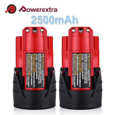 2PC 2500mAh Battery For Milwaukee 48-11-2460 48-11-2440 M12 LITHIUM ION XC Drill