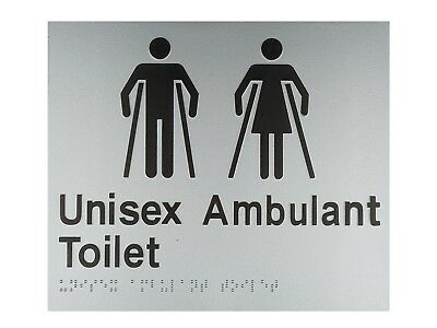 Braille Sign Unisex Ambulant Toilet As1428.1 Tactile Disabled Restroom Silver