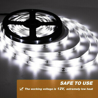 Cool White 300 LEDs 5m Flexible Bright LED Strip Lights 12V Waterproof 5050 SMD