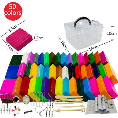 50pcs Malleable Fimo Polymer Clay Soft Modelling DIY Craft Block Plasticine Toys