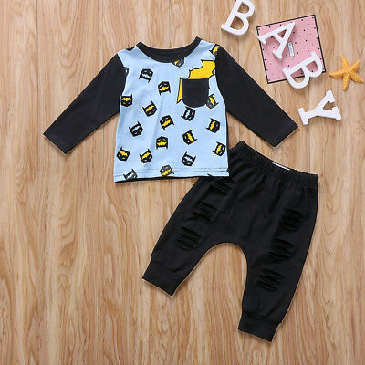 Toddler Baby Kid Boys Clothes Tops T-shirt Hole Pants Outfits Set 0-6M