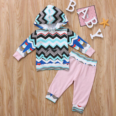 Newborn Baby Boys Girls Hooded Tops+ Long Long Pants Trousers Outfits Clothes
