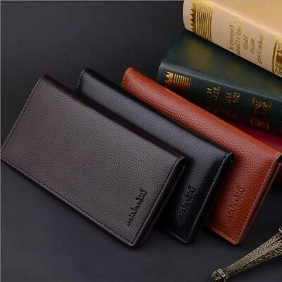 Business Mens Long Casual Leather Wallet Pockets Card Bag Clutch Bifold Purse