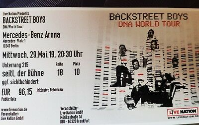Backstreet Boys Ticket DNA World Tour Berlin 29.05.2019 Unterrang 215