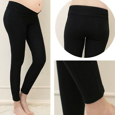 Women Maternity Pregnant Belly support Cotton Casual Leggings Low Waist Pants 6A