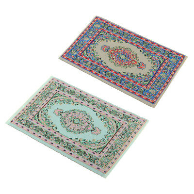 2pcs Miniature Floor Covering Turkish Style Rug Carpet for 1/12 Dolls House