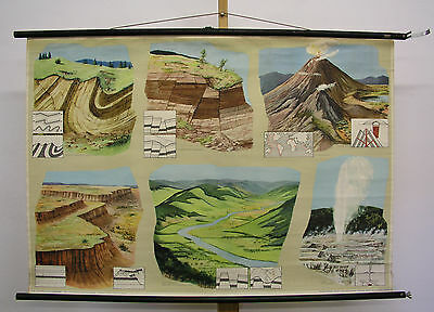 Beautiful Old Schulwandkarte Inner Forces Der Erde Volcano 117x82 Vintage
