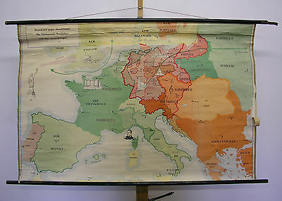Schulwandkarte Old Wall Map Card French Revolution 137x91 ~ 1958 Napoleon