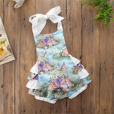 AU Newborn Toddler Kid Sleeveless Baby Girl Easter Bunny Romper Jumpsuit Outfit