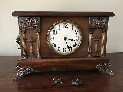 1920s Sessions Mahogany Mantle Clock with Egyptian and Lion Head Accents