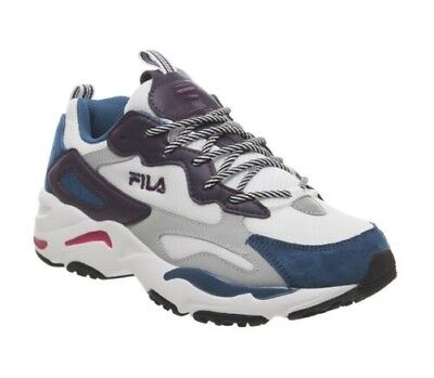 b3ccf86bece Femmes Fila Ray Tracer Chaussures Blanches Encre Bleue Violet Fanion F  Baskets